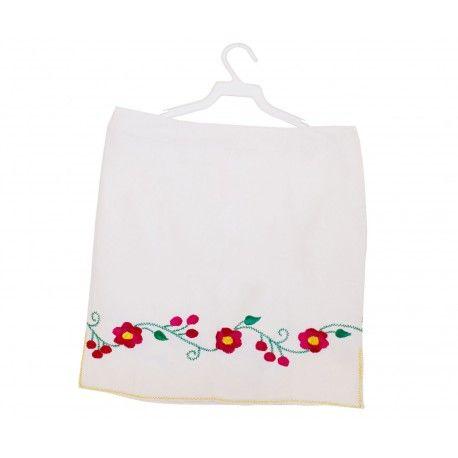 6d30d8397 Mini-falda en manta con flores bordadas a mano.