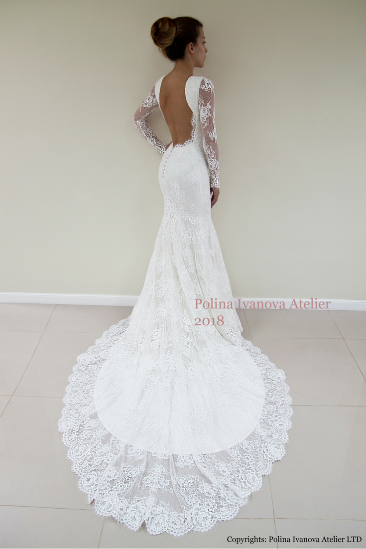 Lace dress open back  Lace Wedding Dress Custom Made Wedding Dress Trumpet Silhouette
