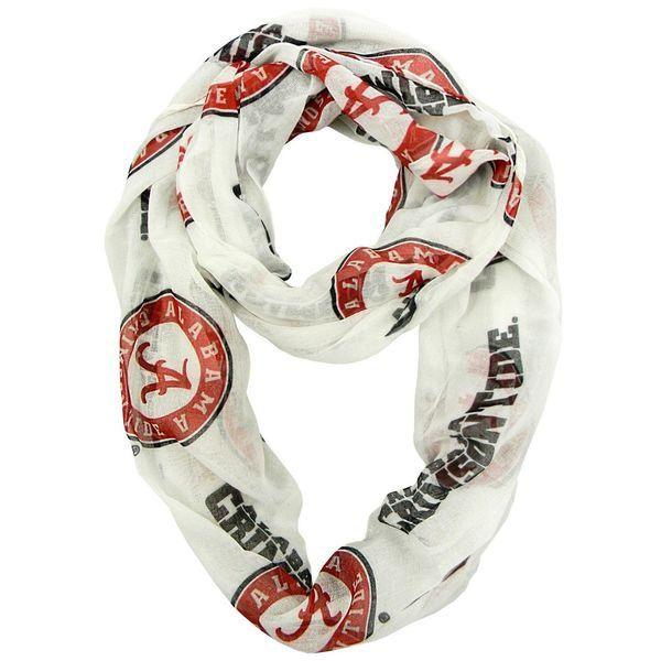 NCAA Alabama Crimson Tide Sheer Infinity Scarf White
