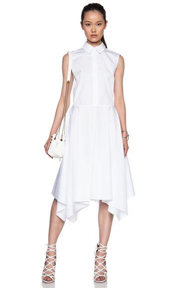Collared Cotton Shirt Dress with Scarf Hem