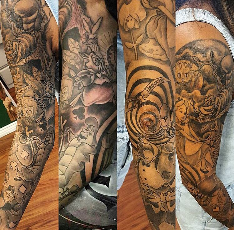 Alice In Wonderland Sleeve Tattoo Tatuagem Alice No Pais Das