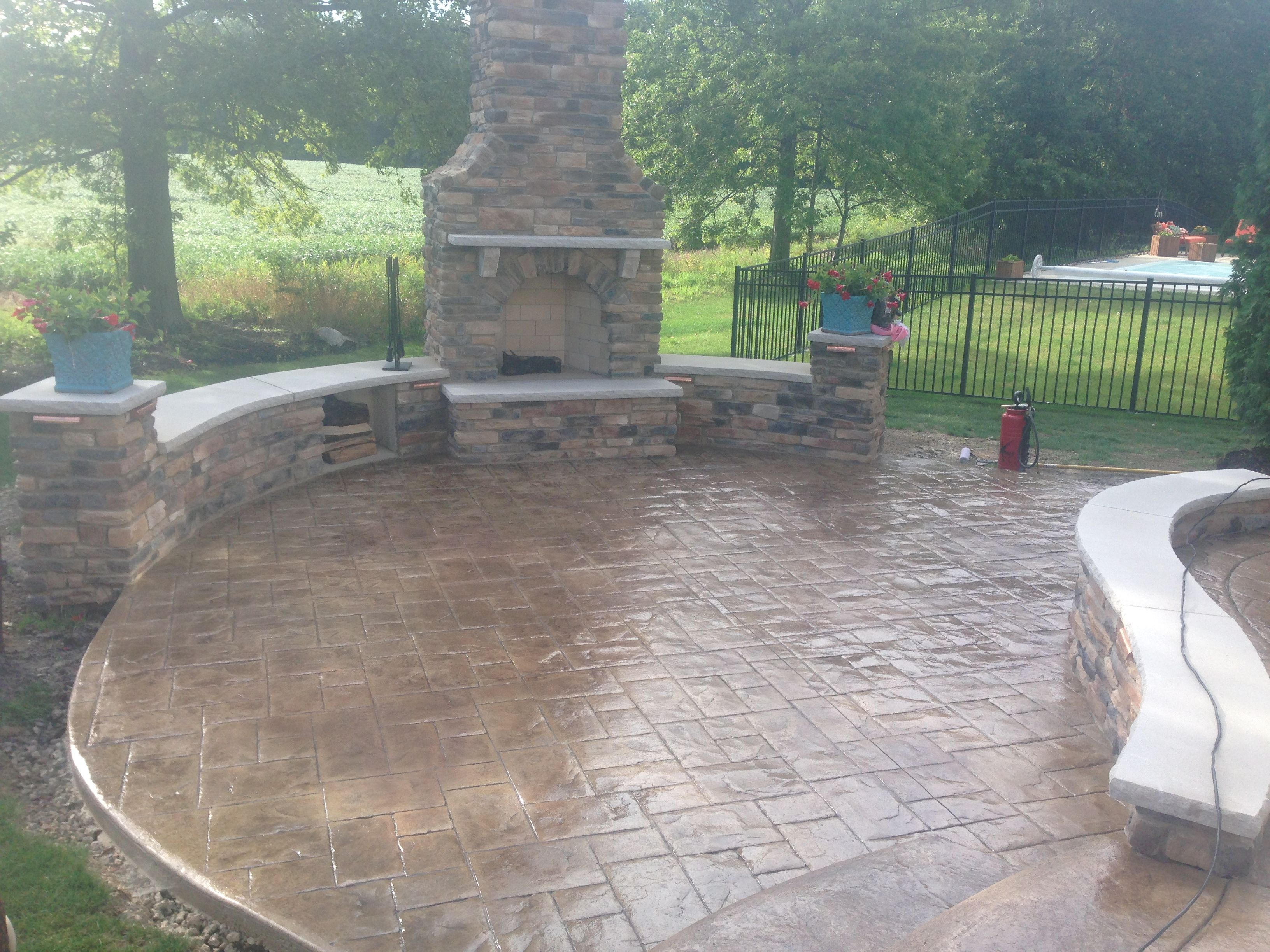 Decorative stamped concrete patio, sitting walls and outdoor ...