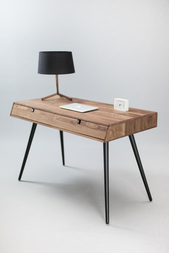 Solid Walnut Wood Desk Dressing Table Office Desk Classic Mid Century Modern Wood Desk Solid Wood Desk Walnut Wood