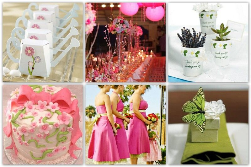Springtime Wedding Theme Elements Pink And Earthly Green With A Touch Of Yellow Magenta