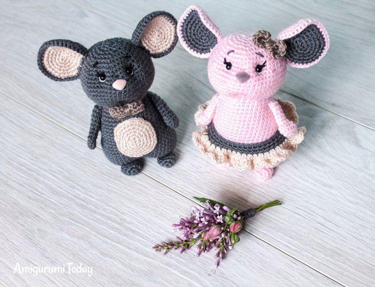 Crochet mouse couple - Free amigurumi pattern | Otros personajes y ...