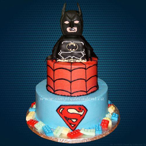 3 Tier Lego Superhero Birthday Cake with 3D Fondant Covered Hand