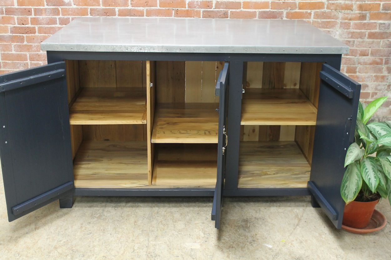 Zinc Tables And Metal Bases  Zinc Table Nightstands And New 60 Inch Kitchen Island Design Ideas