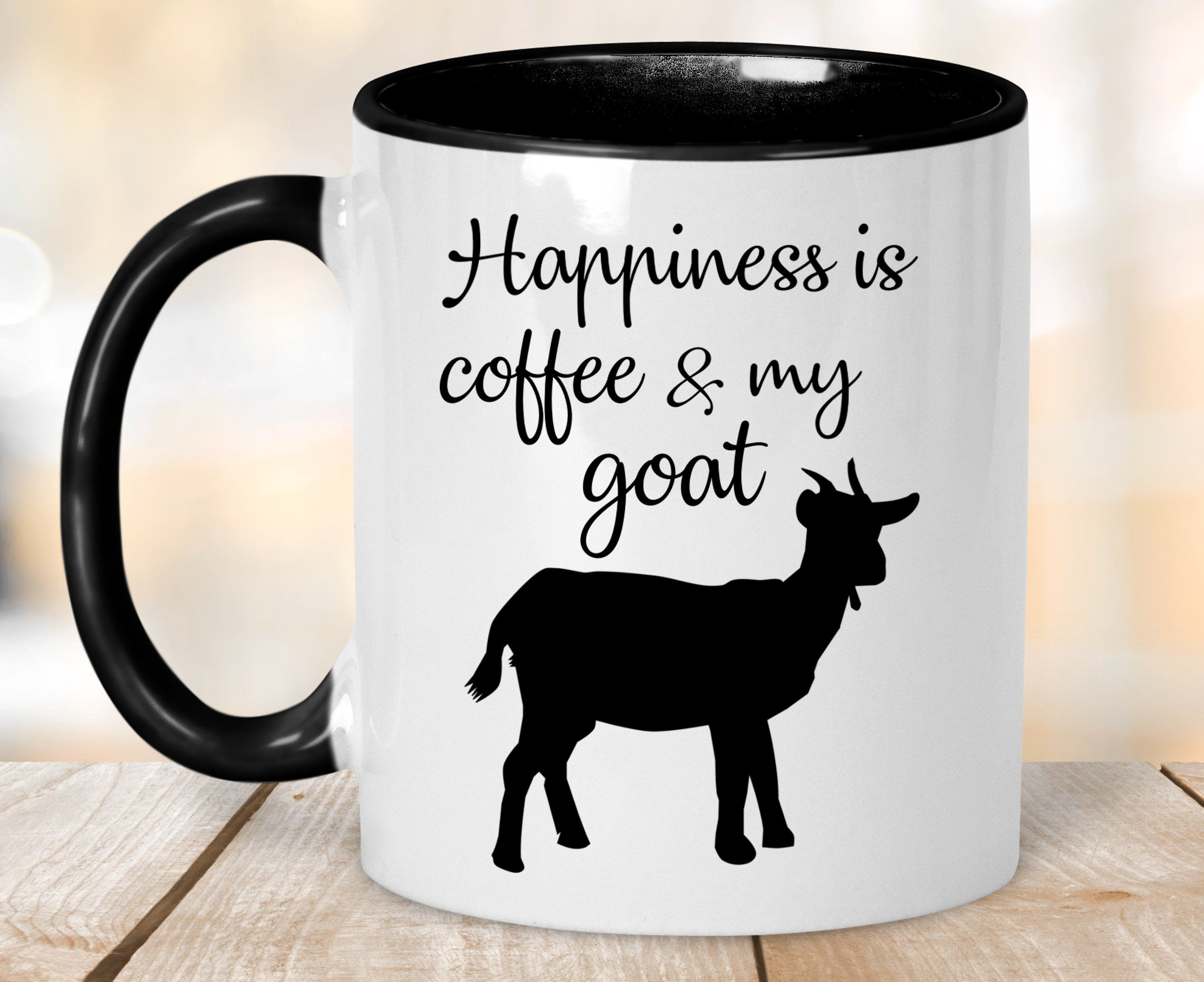 Happiness Is Coffee And My Goat Mug, Goat Gift Mug, Goat