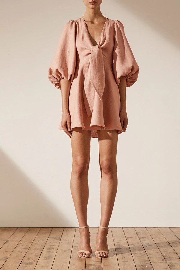 ACE LINEN PUFF SLEEVE MINI DRESS - DESERT ROSE