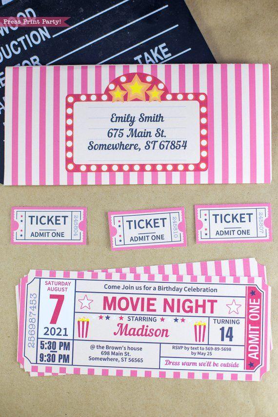 Movie Night Invitation Printables Movie Ticket Stub Invite