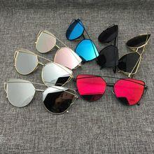 2016 Novo Gato Olho óculos de Aviador Óculos De Sol Das Mulheres Do Vintage  Da Moda de Metal Moldura de Espelho Óculos de Sol Planas Únicas Senhoras  Óculos ... e4e1d213cd