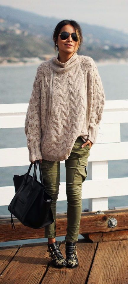 Dear Stitch Fix: Chunky Sweater? Yes please! Army green skinny pants? Yes please!!