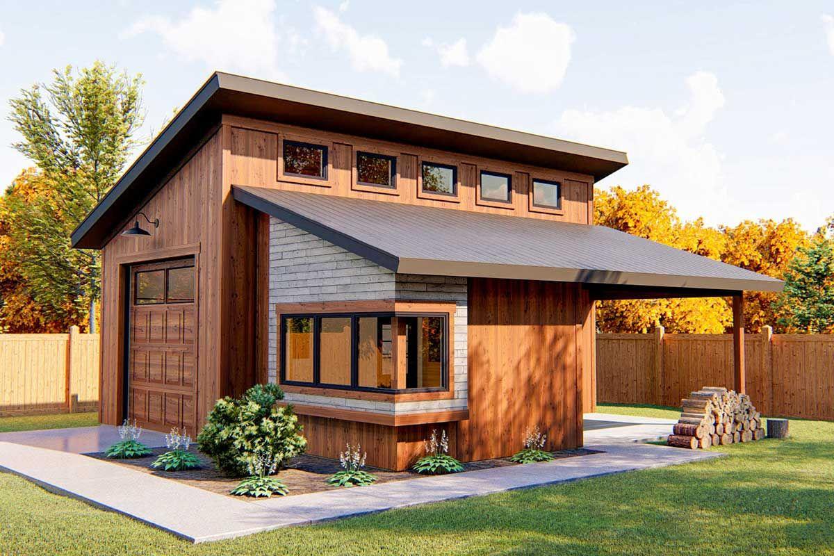 Plan 62574dj Modern Garage With Shop Modern Garage Garage Workshop Plans House With Porch