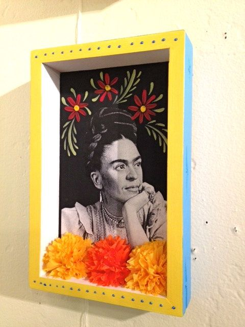 Pen and acrylic artwork over map of New Mexico. Frida Kahlo Greeting Card