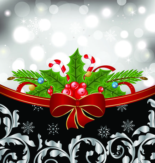 Shiny Christmas Backgrounds With bow design vector 05 Christmas