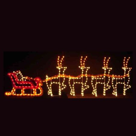 Santa Sleigh Reindeer C7 Led Light Display 30 Ft W Christmas Roof Decorations Christmas Light Displays Roof Decoration