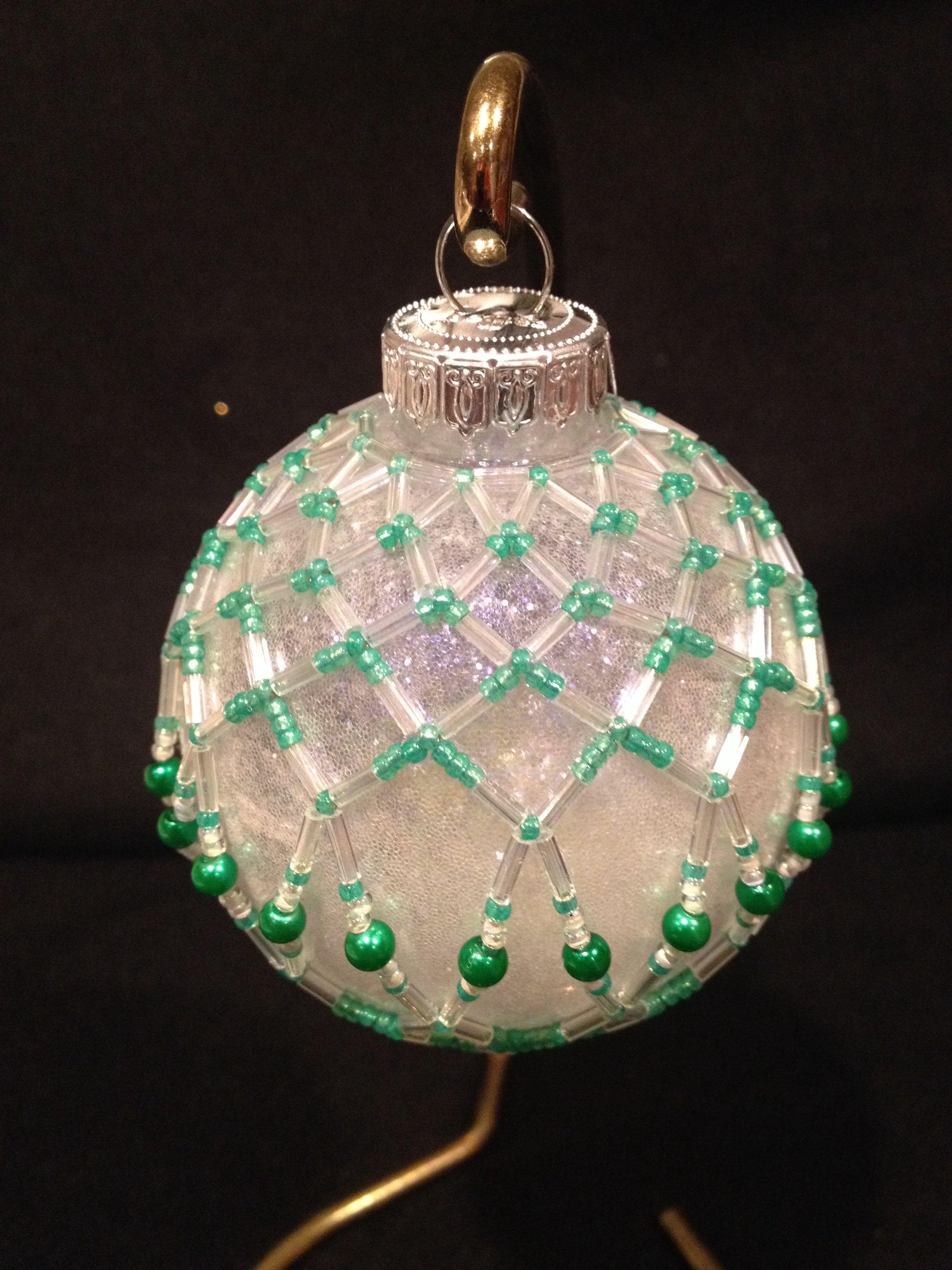 Beaded Green & White Ornament
