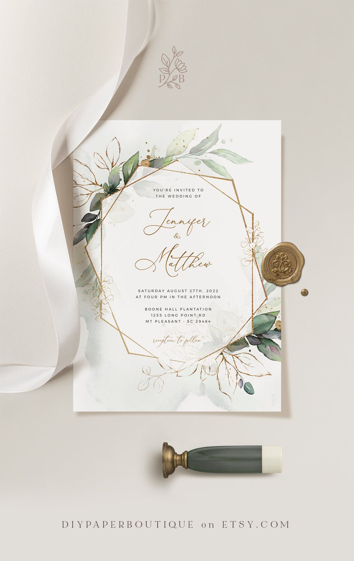 CLEO – Geometric Wedding Invitation Template, Boho Wedding Invite Template, Wedding Invitation Template Download Faux Gold Invite Suite Kit