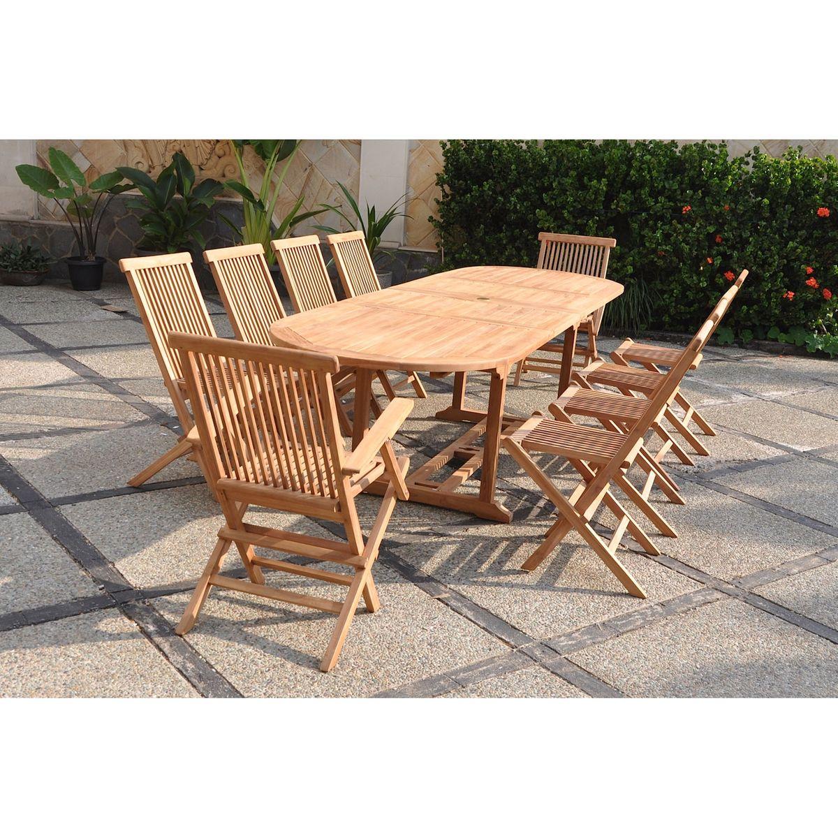 Kajang : Salon De Jardin Teck Massif 10 Personnes - Table ...