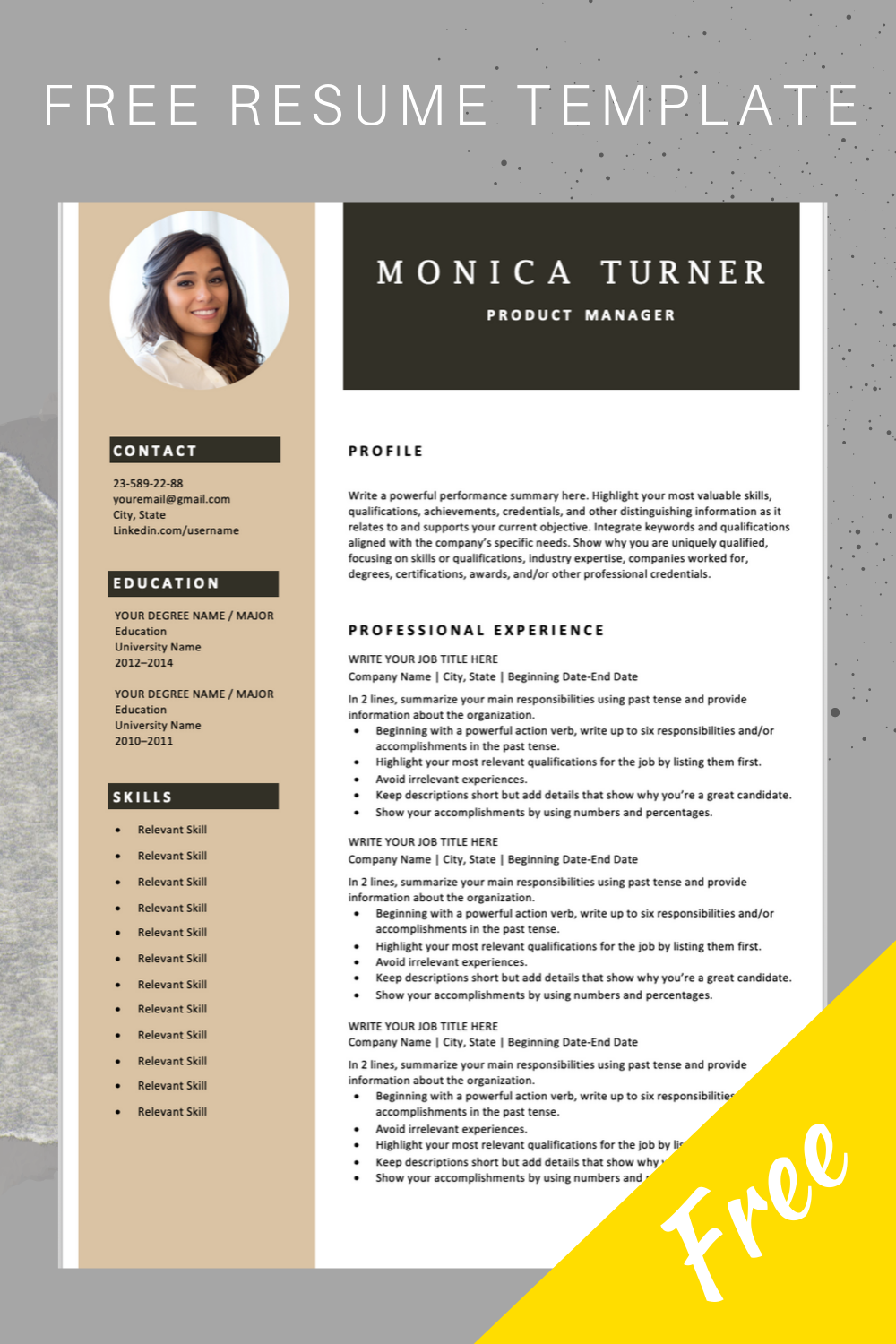 Download This Professional Resume Template You Can Easily Adjust It In Microsoft Word And Save It In Pdf If Needed Sign Up For Our Job Search Tips A Pendidikan