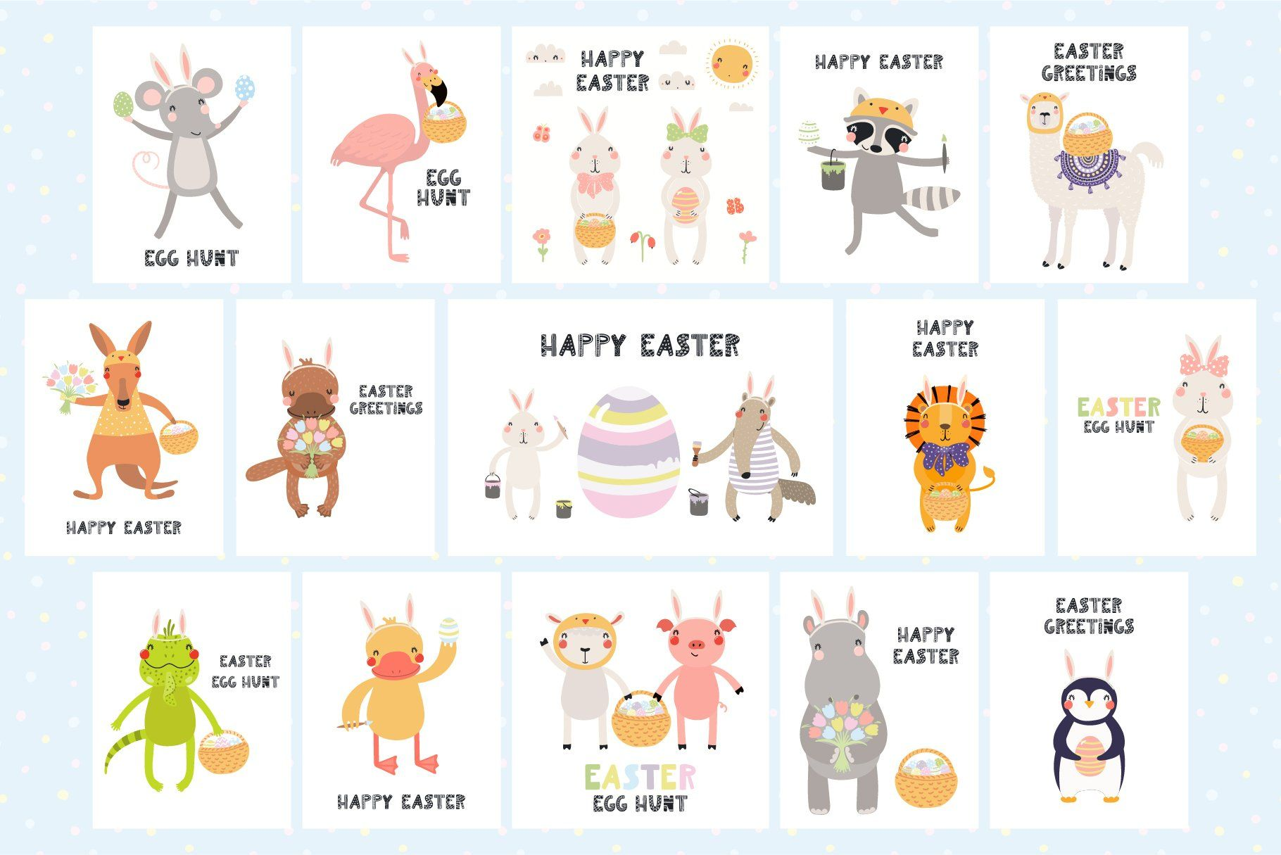 Lovely Easter Day Cute Animals Art In 2020 Cute Little Animals Cute Animals Cactus Illustration