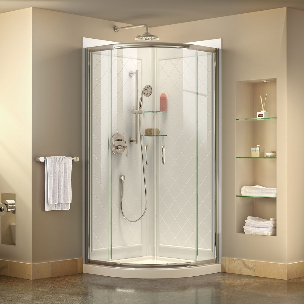 Prime 33 Inch X 33 Inch X 76 75 Inch Corner Framed Sliding Shower Enclosure In Chrome With Acrylic Base And Back Walls Kit Shower Enclosure Corner Shower Kits Frameless Shower Enclosures