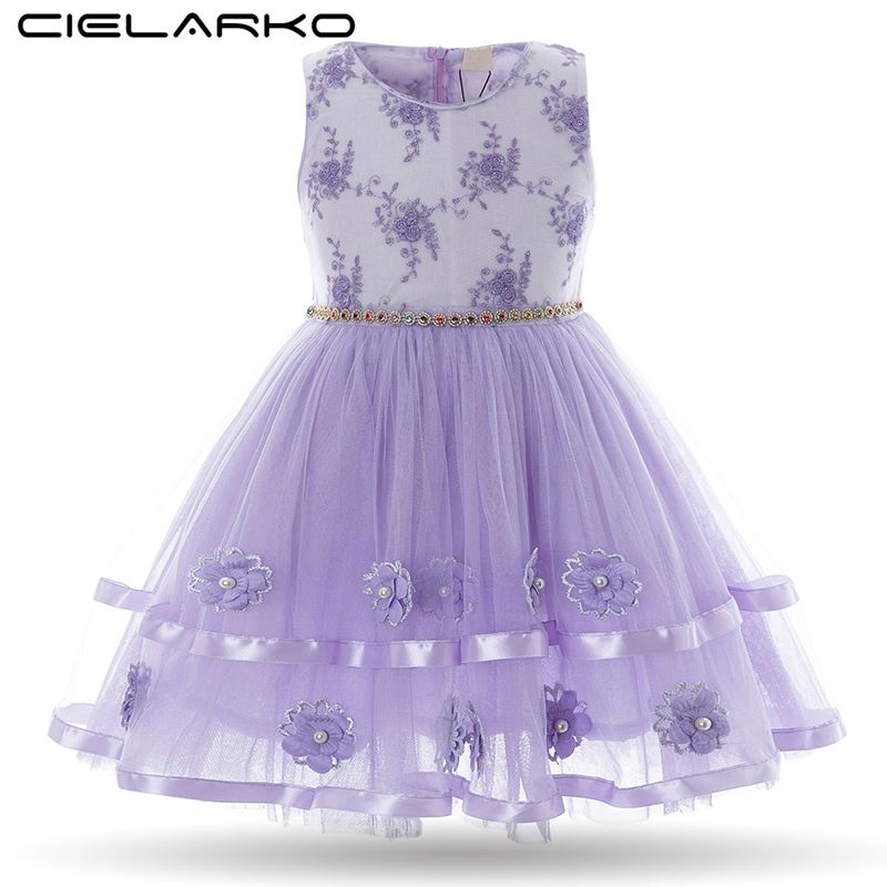 Cielarko Kids Girls Party Dress Baby White Birthday Embroidery ...