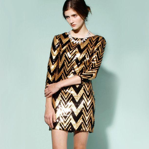 Zig Zag Sequin Dress Black Gold