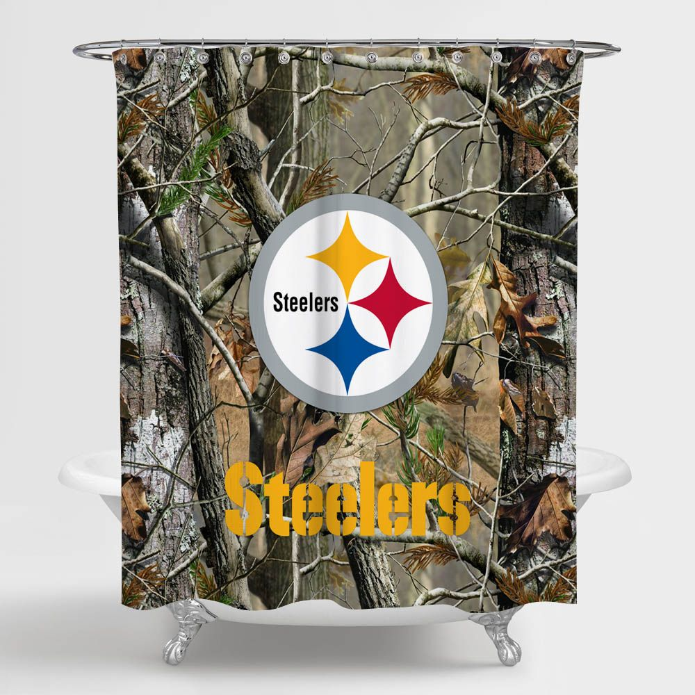 Pittsburgh Steelers Nfl Logo Camo Shower Curtain 100 Polyester Custom Shower Curtains Nfl Logo Fabric Shower Curtains