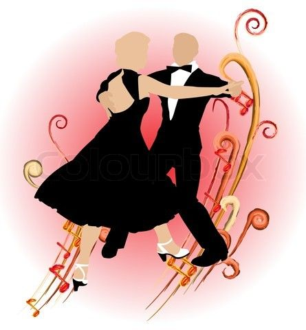 Silhouette dancing couple on abstract background of music ...