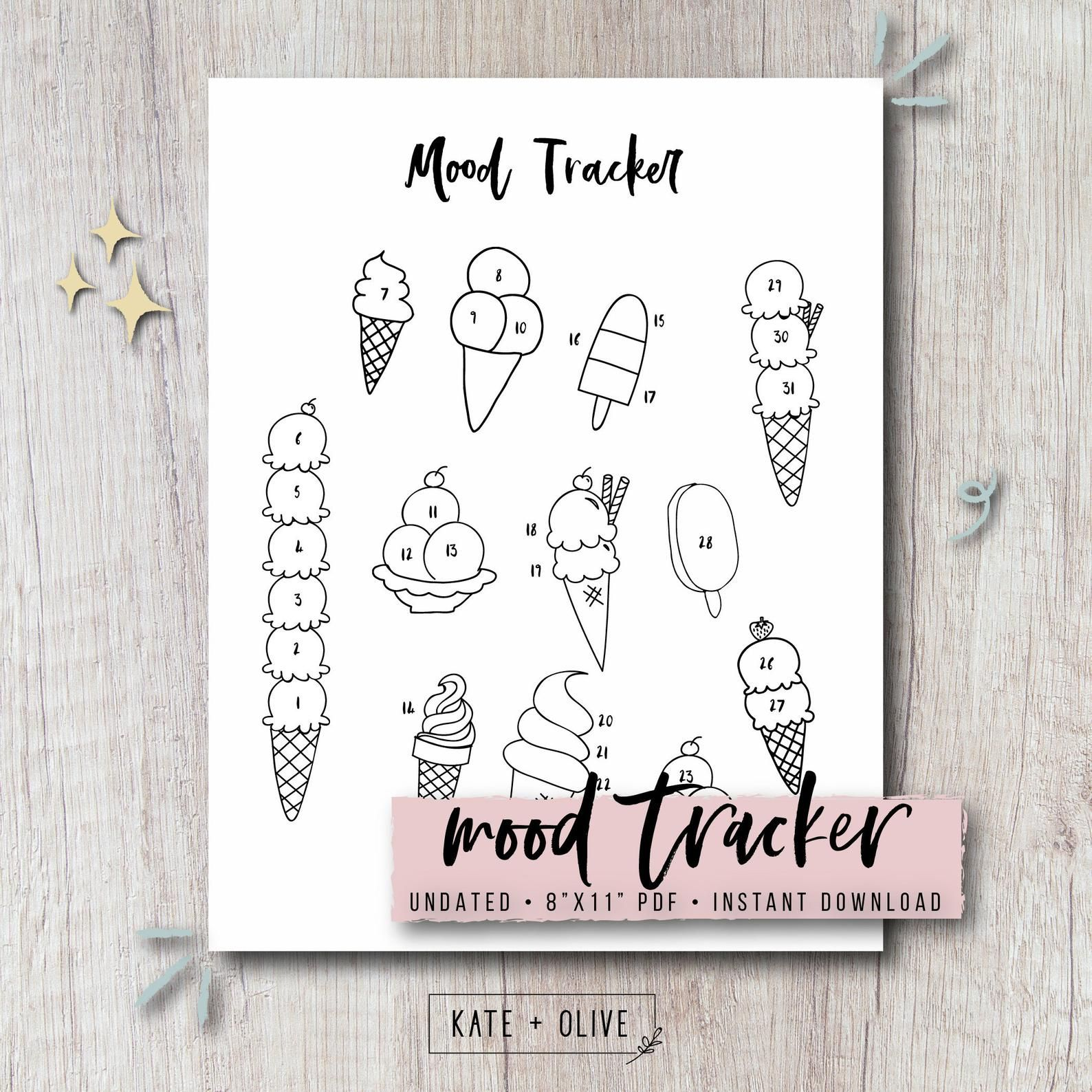 Mood Tracker Printable Bullet Journal Insert