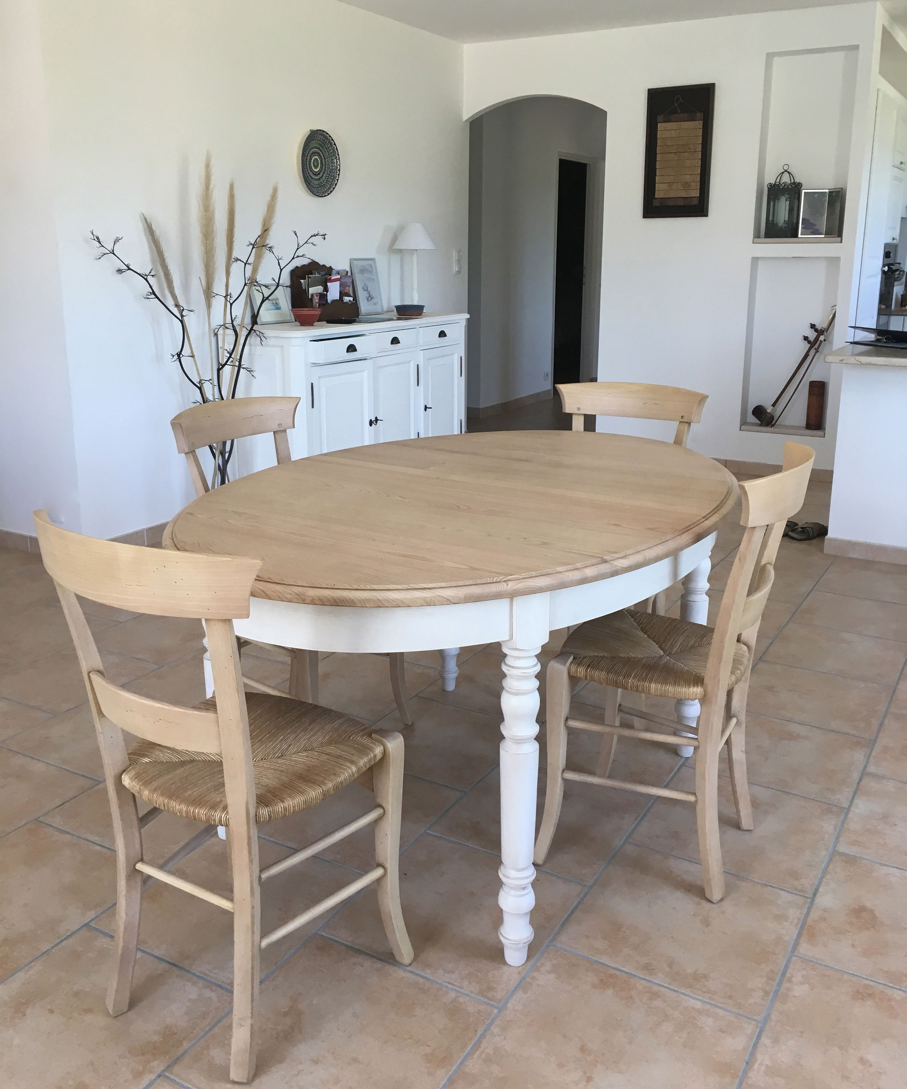 Table Salle Manger Ovale Bois Naturel Massif Et Blanc Ambiance