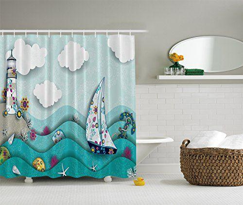 Lighthouse Ocean Waves Nautical Ship Whale Fabric Shower Curtain