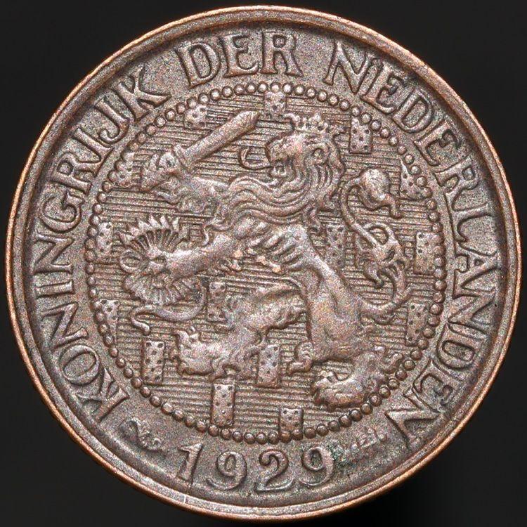1929 Netherlands 1 Cent Bronze Coins Km Coins Oud Geld Geld