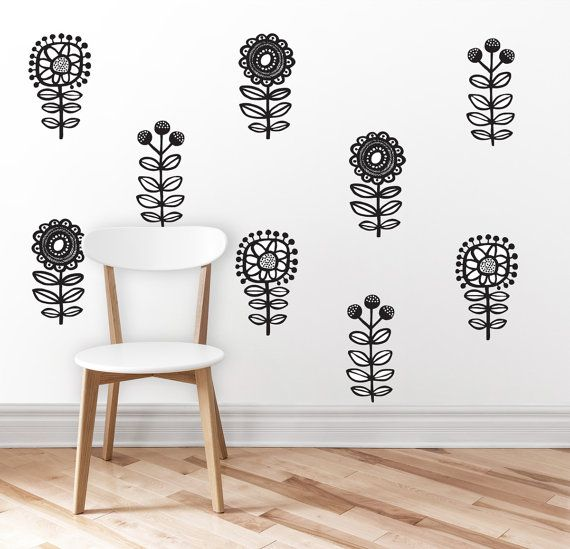 Flowers wall decal 3 flowers home decor wall sticker wall art black and white flowers decor flower wall decor