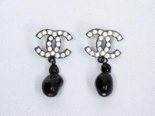 Just In Chanel Swarovski Crystal Cc Logo Black Resin Teardrop