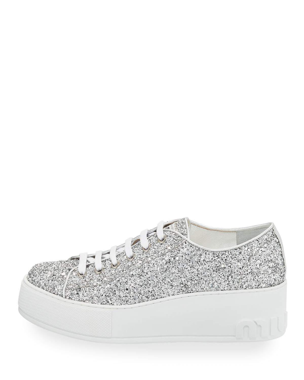 7068cafd6a7 Miu Miu Glitter Platform 55mm Sneakers