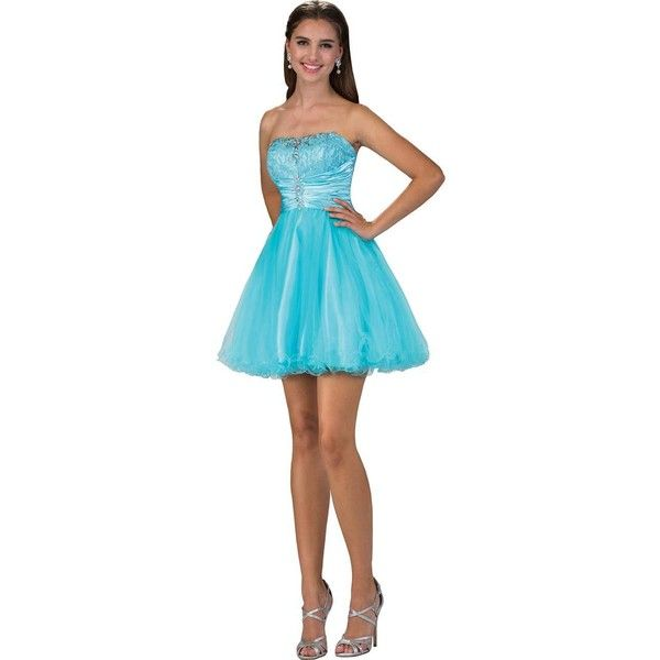 Blue Strapless Lace & Tulle Embellished Short Party Dress ($128) ❤ liked on Polyvore featuring dresses, blue, lace prom dresses, long homecoming dresses, short cocktail dresses, homecoming dresses and long lace dress