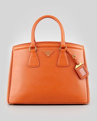 1ca94d7d937 Saffiano Parabole Medium Tote Bag, Orange by Prada at Neiman Marcus ...