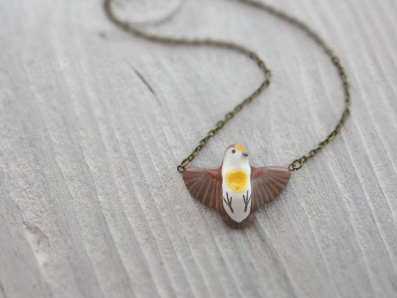 Golden Heart Dove in flight necklace by HandyMaiden on Etsy, $45.00