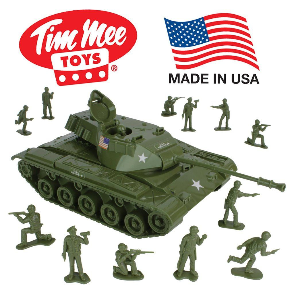 Green Army Tank Cannon Model Toy Military Vehicles Plastic Toy Soldiers