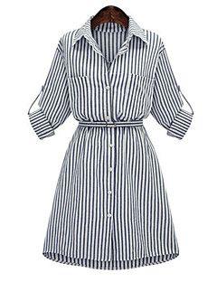 Mujer Camisa Vestido Tallas Grandes Chic De Calle A Rayas Cuello Camisero Sobre La Rodilla 3 4 Manga Vestidos Camiseros Camisa Vestido Vestidos De Talla Grande