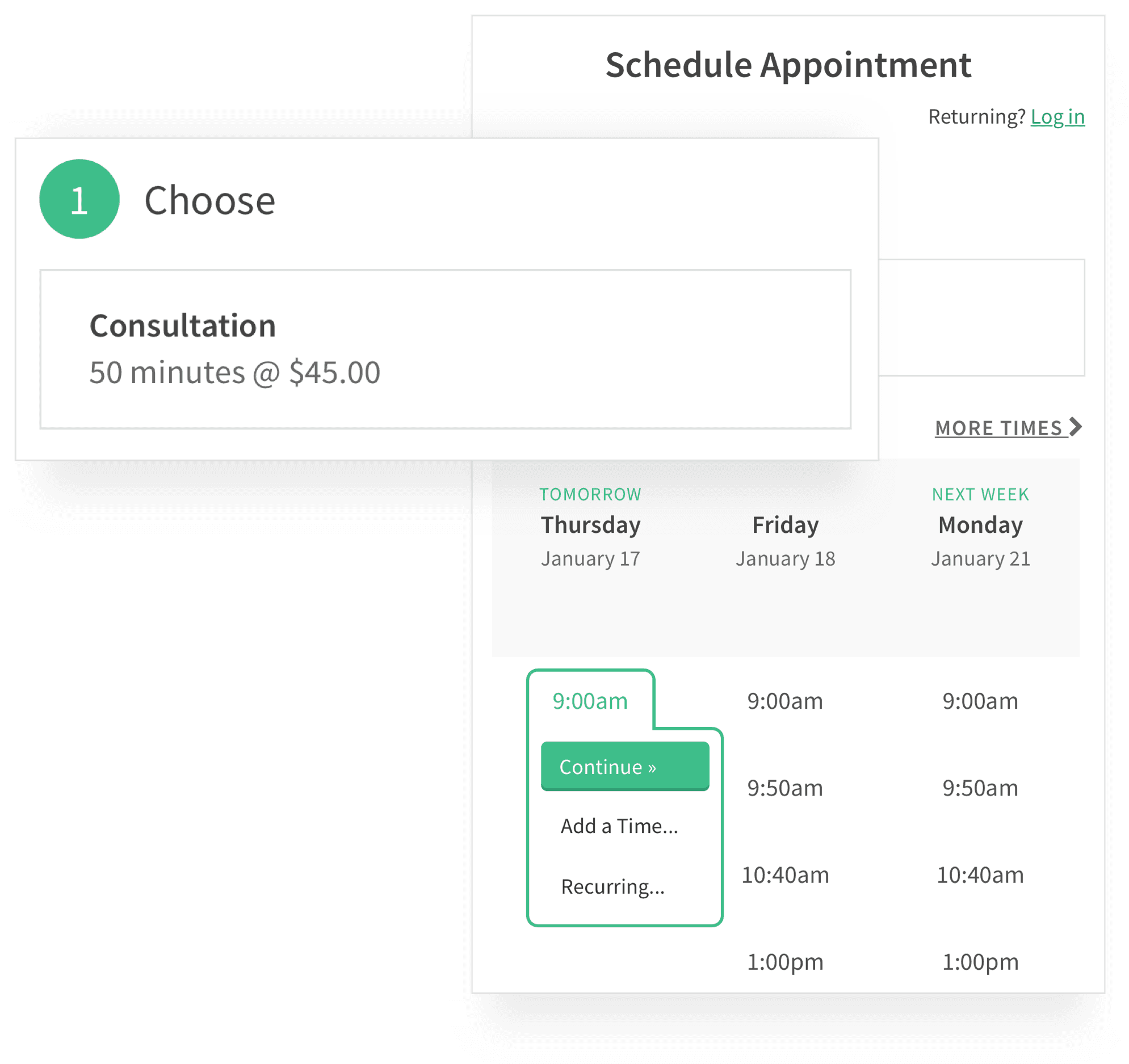 Client Scheduling a Consultation Appointment Scheduling