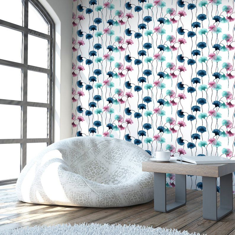 Carnation Flower Peel & Stick Wallpaper Blue and Pink