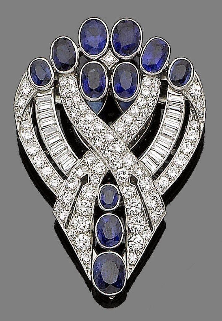 An art deco sapphire and diamond brooch #cuadrosmodernos #buyart