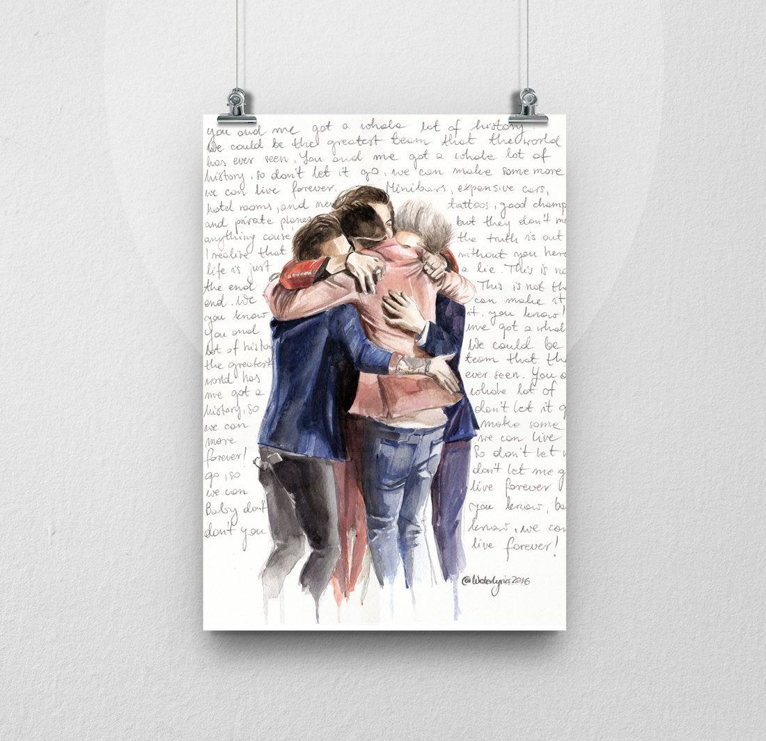"""Photo of POSTER ARTPRINT of Watercolor Portrait of One Direction with """"History"""" lyrics"""