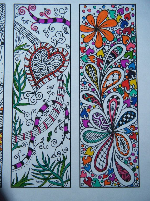 Digital Bookmarks - Adult Coloring Page - Zentangle Inspired ...