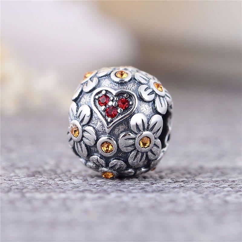 per braccialetti europei Ciondolo a forma di fiore e fiocco di neve in vetro di Murano in argento Sterling 925