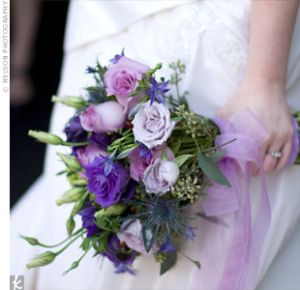 Purple bouquet with roses