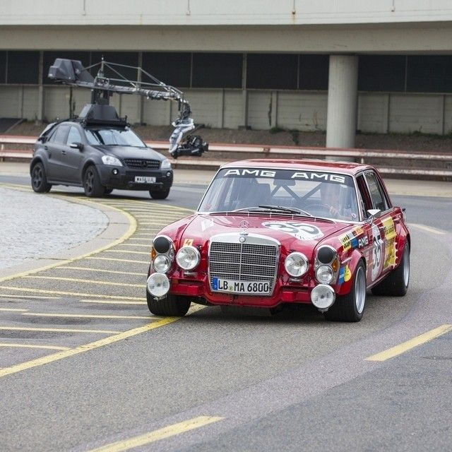 Sometimes pigs do fly, and that's what's on the agenda for today: filming the 300 SEL 6.8 on the track. After finishing second overall at the 1971 24 Hours of Spa, the low-slung sedan made a name for both AMG—and for itself. From then on, the big four-door was known as the Red Pig, so named because of its color and how much it dwarfed its two-door competition in terms of sheer size.  #MBPhotoPass #Mercedes #Benz #300SEL #AMG #Sedan #BehindTheScenes #carsofinstagram #instacar #germancars…